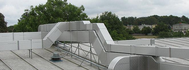 kanały wentylacyjne z ALP na dachu