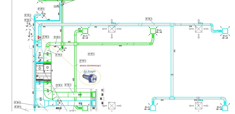 projekt podłączenia modułu dezynfekcyjnego, moduł dezynfekujący